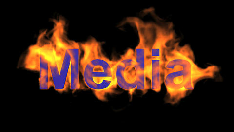 flame blue media word,fire text Animation