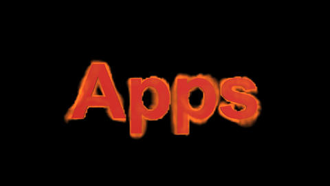 flame apps word,fire text Stock Video Footage