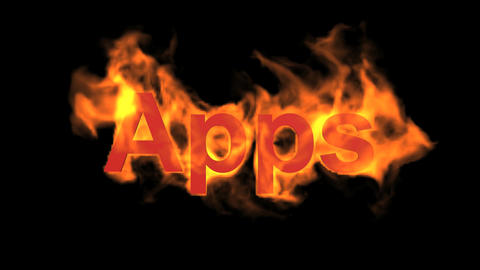 flame apps word,fire text Animation