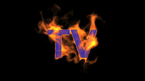 flame blue TV word,fire text Stock Video Footage