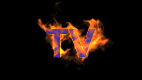 flame blue TV word,fire text Animation