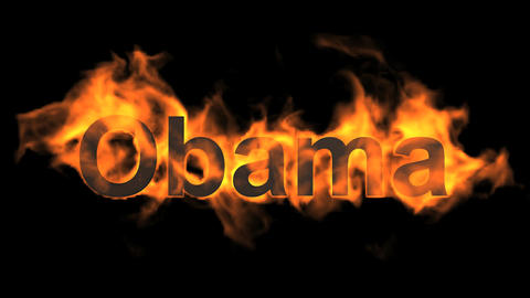 flame Obama word,USA president,fire name Animation