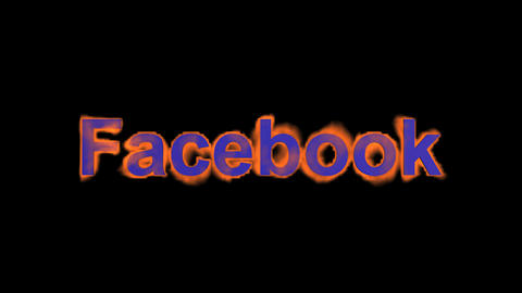 flame blue facebook word,fire text Stock Video Footage