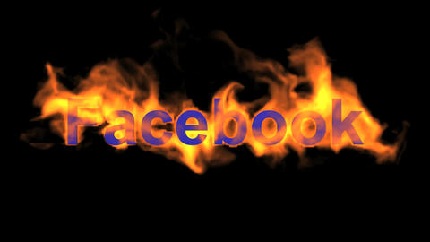 flame blue facebook word,fire text Animation