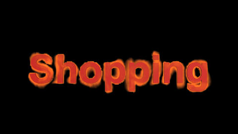 flame shopping word,fire text Stock Video Footage