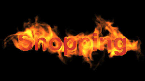 flame shopping word,fire text Animation