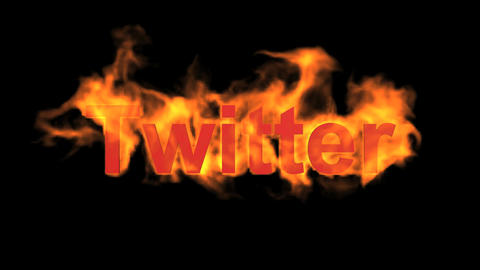 flame twitter word,fire microblogging text Stock Video Footage