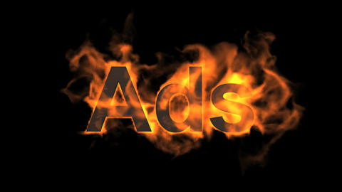 flame ads word,fire text Animation