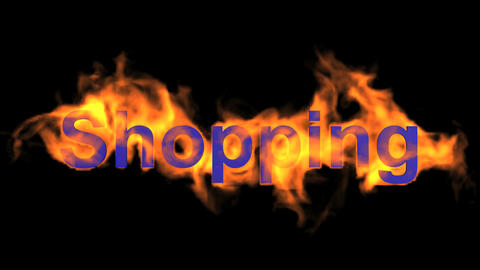 flame blue shopping word,fire text Animation