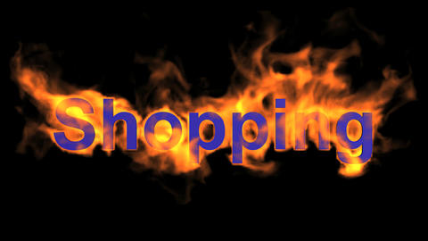 flame blue shopping word,fire text Stock Video Footage