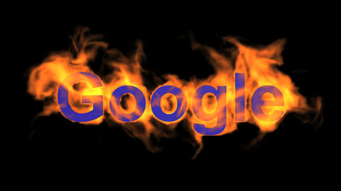 flame blue google word,fire text Animation