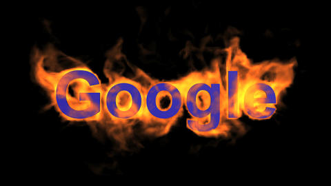 flame blue google word,fire text Stock Video Footage