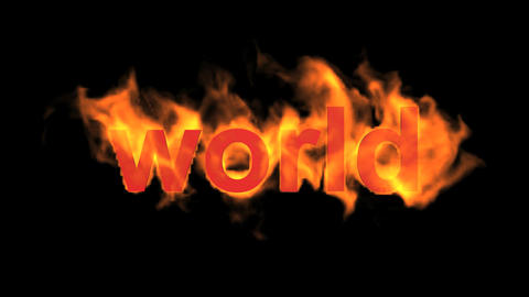 flame world word,fire text Animation