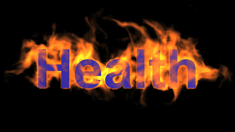 flame blue health word,fire text Animation