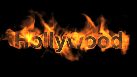 flame hollywood word,fire text Animation