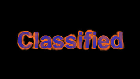 flame blue classified word,fire text Stock Video Footage