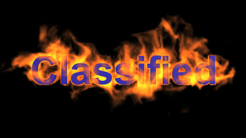 flame blue classified word,fire text Animation