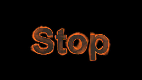 flame stop word,fire text Stock Video Footage