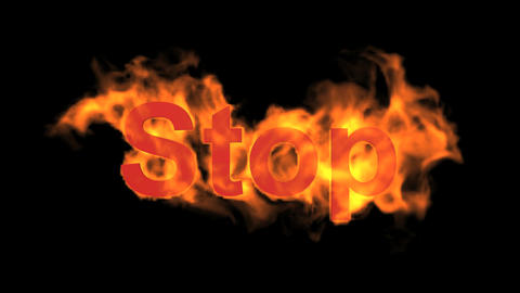 flame stop word,fire text Animation