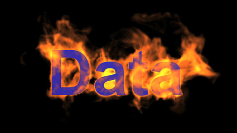 flame blue data word,fire text Animation