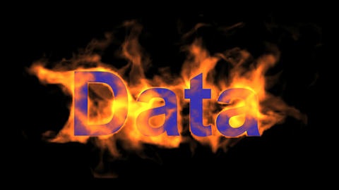 flame blue data word,fire text Stock Video Footage