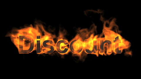flame discount word,fire text Animation