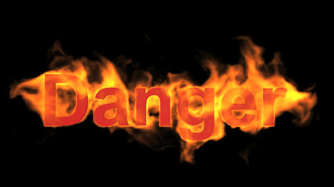 flame danger word,fire text Animation