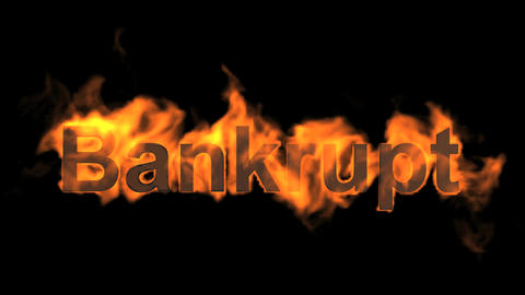 flame bankrupt word,fire text Animation