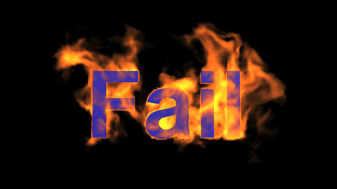 flame blue fail word,fire text Animation