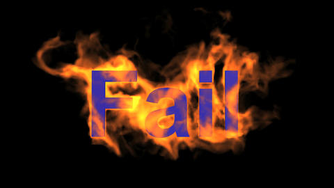 flame blue fail word,fire text Stock Video Footage