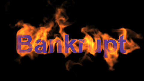 flame bankrupt word,fire text Stock Video Footage