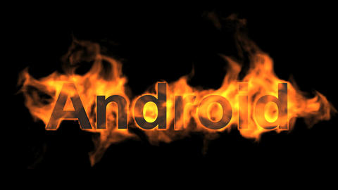 flame android word,fire operating system text Animation