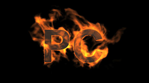 flame PC word,fire text Animation