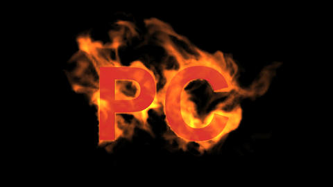 flame PC word,fire text Stock Video Footage