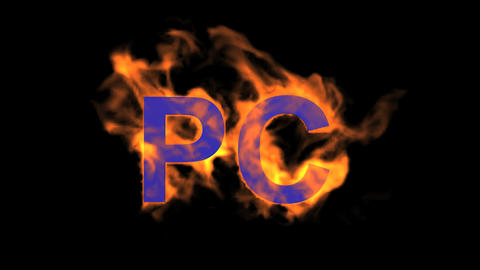 flame purple PC word,fire text Animation