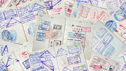 Passport Travel Stamps stock footage