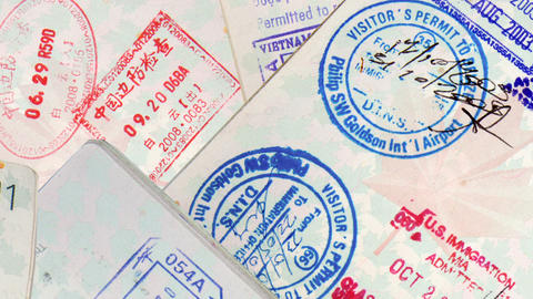 Passport Travel Stamps Stock Video Footage