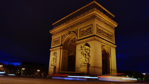 The Arch Of Triumph At Night. Paris Time Lapse Vie stock footage