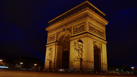 The Arch of Triumph at night. Paris time lapse vie Stock Video Footage