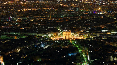 Etoile seen from Eiffel Tower, time-lapse night Stock Video Footage