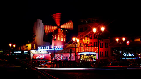 Moulin Rouge Paris stock footage