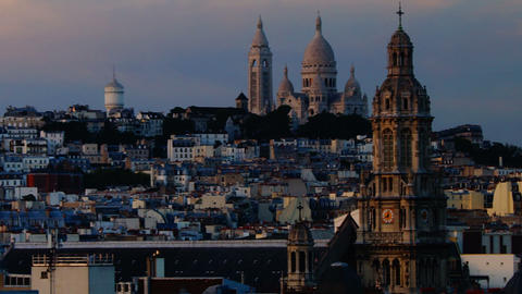 panoramic view of Paris, Montmartre view Stock Video Footage