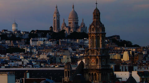 panoramic view of Paris, Montmartre view Footage