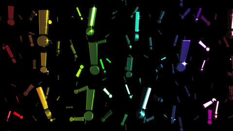 Looping Rainbow Exclamation Marks Falling Animation