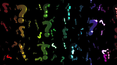 Looping Rainbow Question Marks Falling Animation