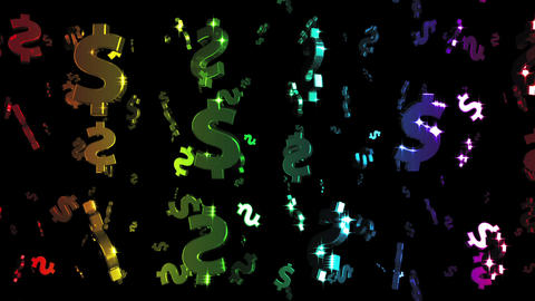 Looping Rainbow Dollars Falling Animation