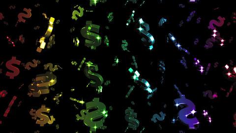 Looping Rainbow Dollars Falling Stock Video Footage