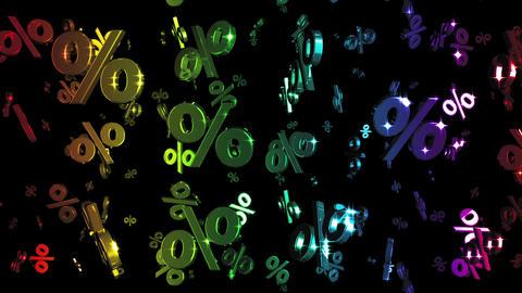 Looping Rainbow Percents Falling Animation