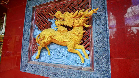 Gold Holy Horse Bas-relief inside Pagoda in Vietnam Footage
