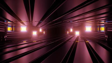 Surreal tunnel with neon illumination 3D illustration Animation